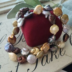 """Vintage Sterling Silver Clasp Dyed Baroque Real Pearls Necklace 18""""L"""