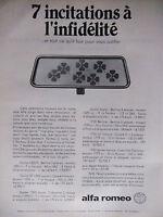 PUBLICITÉ DE PRESSE 1968 ALFA ROMEO 7 INCITATIONS A L'INFIDÉLITÉ - ADVERTISING
