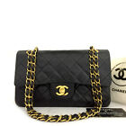 CHANEL Double Flap 23 Quilted CC Logo Lambskin w/Chain Shoulder Bag Black/F0161