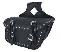Borsa Bisacce Moto Customo Chopper Borchie Cromate Nero laterale destra mono