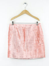 Topshop Unique Womens Mayall Pink Crushed Velvet Mini Skirt Size 14