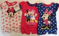 Baby Girl Rompers 6-9 Months Disney Minnie Mouse Set Of 3