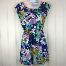 Mossimo Small Mini Dress Floral Pockets Soft Cap Sleeves Pullover Cruise