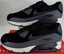 New Womens 12 NIKE Air Max 90 LTHR Leather Black Grey Run Shoes $120 768887-001