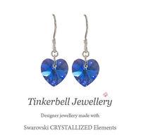 925 Sterling Silver Earrings w Swarovski Elements Sapphire AB Blue Crystal Heart