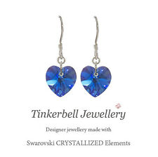 Sterling Silver Earrings w Swarovski Sapphire AB Blue Crystal Heart, September