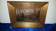 Antike Öl-Gemälde Ölbild auf Holz Romantik Landschaft datiert 1864 Oil Painting