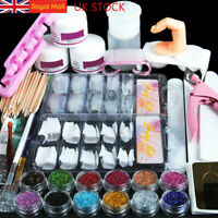 Full Acrylic Powder Nail Art Tool Starter Kit Set Nail Tips Brush Practice Tool