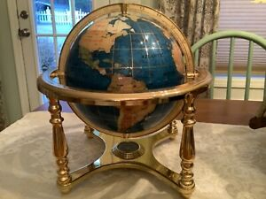 "12"" Tall Table Top Blue Lapis Ocean Gemstone World Globe on Gold Stand 4 Legs"