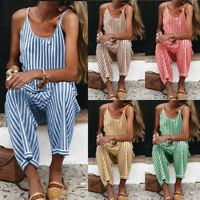 Women Casual Summer Playsuit Loose Baggy Stripe Jumpsuit Romper Trousers Shorts