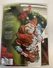 Bucilla Fireman Santa Christmas Dalmatian Dog Fire Truck Felt Stocking Kit 86107