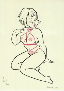 original drawing A4 531KV art Illustration Art pastel woman half naked sketch