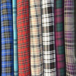 Polyviscose Tartan Fabric - Plaid check - 150 cm Wide Material.