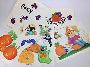 5pc Lot 90s Halloween Window Decal Cling VTG Decoration Spider Ghost Cat JOL Owl