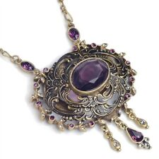 NEW SWEET ROMANCE VICTORIAN AUDETTE AMETHYST CRYSTAL NECKLACE ~~MADE IN USA ~~