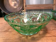 Vintage Art Deco 1930's Green Depression Glass Bowl Cherry Motif