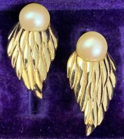 VINTAGE CLIP ON EARRINGS GOLD TONE METAL FAUX PEARL CLIP BACK