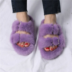 Luxury Women's Winter Real Mink Fur Slippers Slides Top Quality Lady Sandals