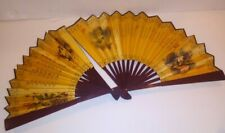 Vintage Japanese Hand Fan Calligraphy Flowers Birds Blossoms Printed Pair Gold