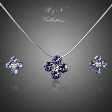 Platinum Plated Purple Made With SWAROVSKI Crystal Flower Earring & Necklace Set