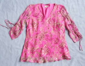 CC Silk Top with Lining - Pink Pattern - 3/4 Sleeves - UK 12