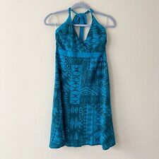 Patagonia Women's Sz M Iliana Halter Dress in Blue Aztec Print Beach Outdoors