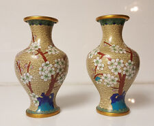 Cloisonne Vases light yellow floral tree Pattern with bird