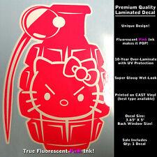 Hello Kitty Decal Grenade Boom Kitty True Fluorescent Neon Pink Laminated 0056