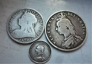 3 x  VICTORIA STERLING SILVER COINS, HALF CROWN,FLORIN, THREEPENCE