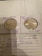 Lot Of 2 One Oz Silver Canada $5 Coins 2017 Lynx 2013 Antelope 2 Oz 9999 Silver