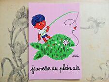 Carte postale Jeunesse au plein Air Hervé Morvan illustrateur pêche à la ligne