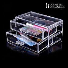 2 Cajones de Acrílico para Maquillaje Cepillo Organizador de Cosméticos Sostenedor de esmalte de uñas
