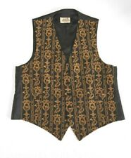 HERMES Waistcoat Vest Equestrian Embroidered Silk Gold and Black Fits Men 40-42