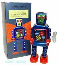 Blue High Wheel Robot Windup Tin Toy St. John Toys Edition