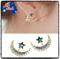 Women 18k Yellow Gold Filled Moon Star Shape Crystal Rhinestone Stud Earrings