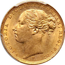 Australia 1879-M Victoria Gold Sovereign PCGC MS-62 Scarce in Mint State!!