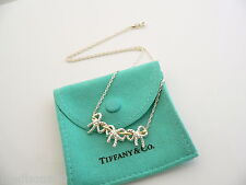 Tiffany & Co Silver 18K Gold Triple 3 Ribbon Bow Necklace Pendant 19.25 In Chain