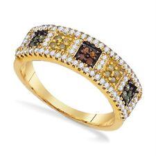 10K Yellow Gold Diamond Band Multi Color Diamond Square Cluster Ring .50ct