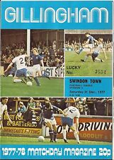 Football Programme - Gillingham v Swindon Town - Div 3 - Dec 1977
