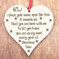 In Memory of Dad Memorial Gifts Christmas Decorations Bereavement Bauble Sign N2