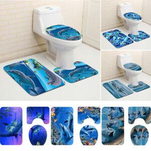 3Pcs Dolphin Soft Home Bathroom Set Bath Mat Contour Rug Toilet Lid Cover New