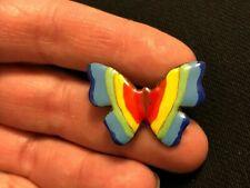 Vintage Enamel Rainbow Butterfly Estate Brooch Pin