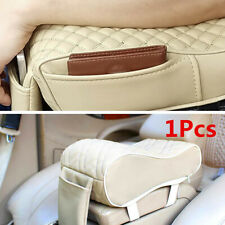1Pcs Beige Universal Car Armrest Pillow Cushion PU Leather Console Box Cover Pad