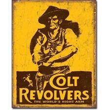 Vintage Replica Tin Metal Sign Colt 6 shooter Pistol Revolver Hand Gun Semi 1789