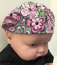 Gray & Pink Floral Infant Baby Hat Cap Fashion Accessory