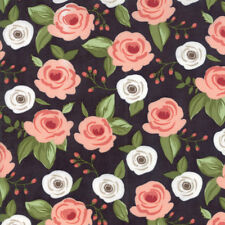 Farmers Daughter~MODA~BY 1/2 YD~Pink Roses on Charcoal~Lella Boutique~5050-12