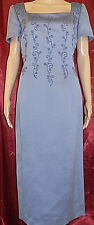 MAGGY LONDON SS SquareNeck Lined Embelished Sheath Dress Blue Gray Lavender L 12