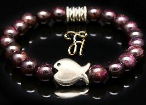 Garnet Bracelet Pearl Bracelet Red Flat Fish 0 5/16in