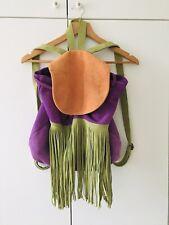 Ladies Colourful Large Suede Fringe Purple Orange Backpack Hippie 90s