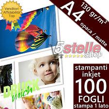 100 FOGLI CARTA FOTOGRAFICA A4 PREMIUM MATTE OPACA 130 GR STAMPA INKJET